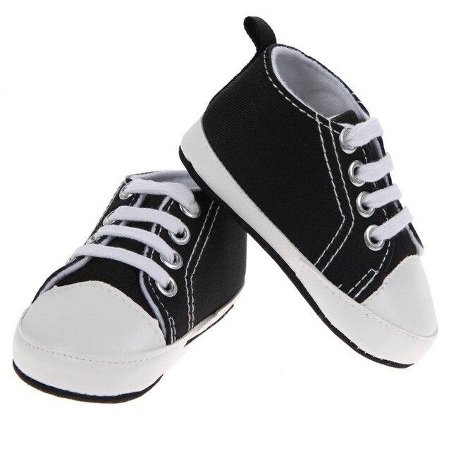 6dc3f1d51257 1 Pair Baby Boys Shoes Girls Sports Canvas Shoes Kids Children Plain Design  First Walkers Black White 2017