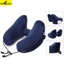 Newest Design H-Shape Folding Travel inflatable Pillow With Pouch Detachable Soft Cloth Cover Airplane Neck Pillow Car Headrest