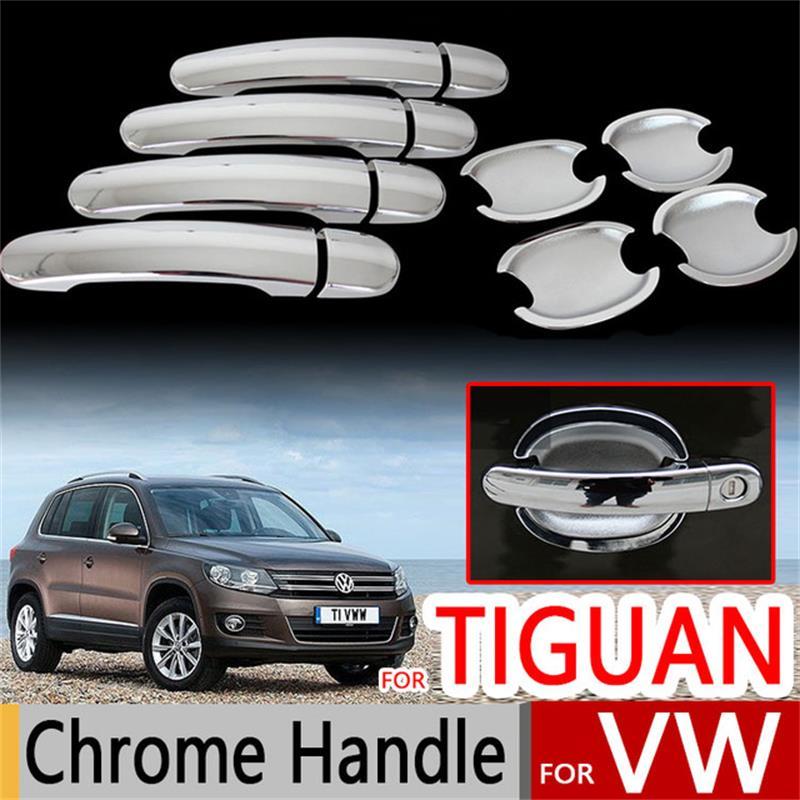 For Volkswagen VW Tiguan 2009 2015 ABS Chrome DOOR HANDLE COVER Trim ...