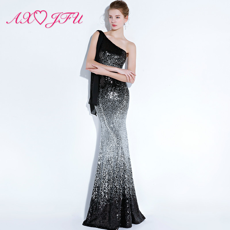 AXJFU Sexy Black Sequin One Shoulder Mermaid Evening Dress Princess Sparkly Blue Pink Ribbons Trumpet Evening Dress YSGZ219