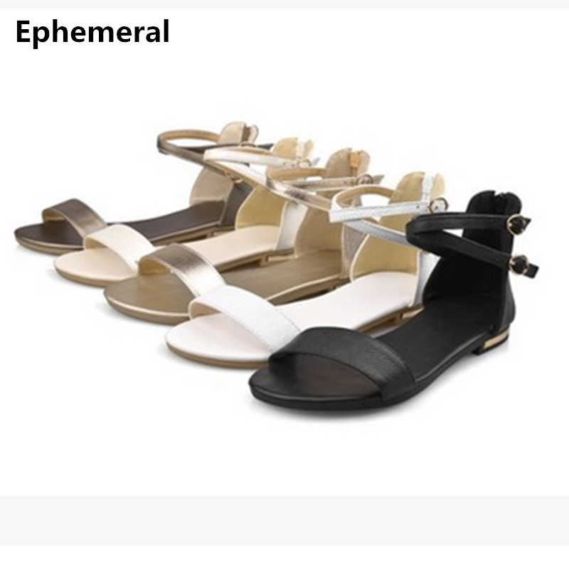 School Girls Genuine Real Leather 2017 Buckle Strap Open Toe Accurate Plus size 34-44 Cover Heel Flat Summer Sandal Ladies Shoes 2017 newest summer black brown leather sandal for woman sexy open toe flat crystal sandal sequins bead t strap buckle shoes