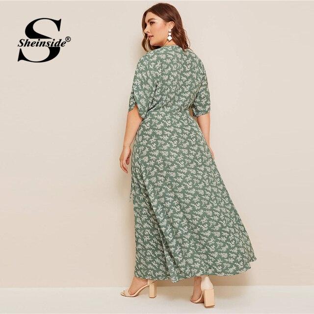 Sheinside Plus Size Boho V Neck Wrap Dress Women 2019 Summer Half Sleeve A Line Dresses Ladies Floral Print Side Slit Maxi Dress 3
