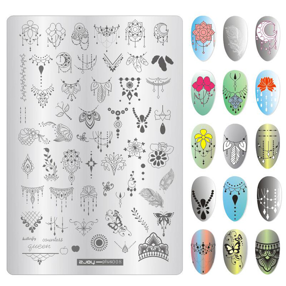 1Pc Geometry Spring Garden Stamping Template Rectangle Flower Leaf Butterfly Floral Nail Art Image Plate Nail Stamping Plates