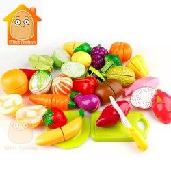 Brinquedos da menina Para Crianças Brinquedo de Plástico de Frutas Legumes Cortados Pretend Play Brinquedos de Cozinha Do Bebê Em Miniatura de Alimentos Alimentos Jogo Para As Meninas e Meninos