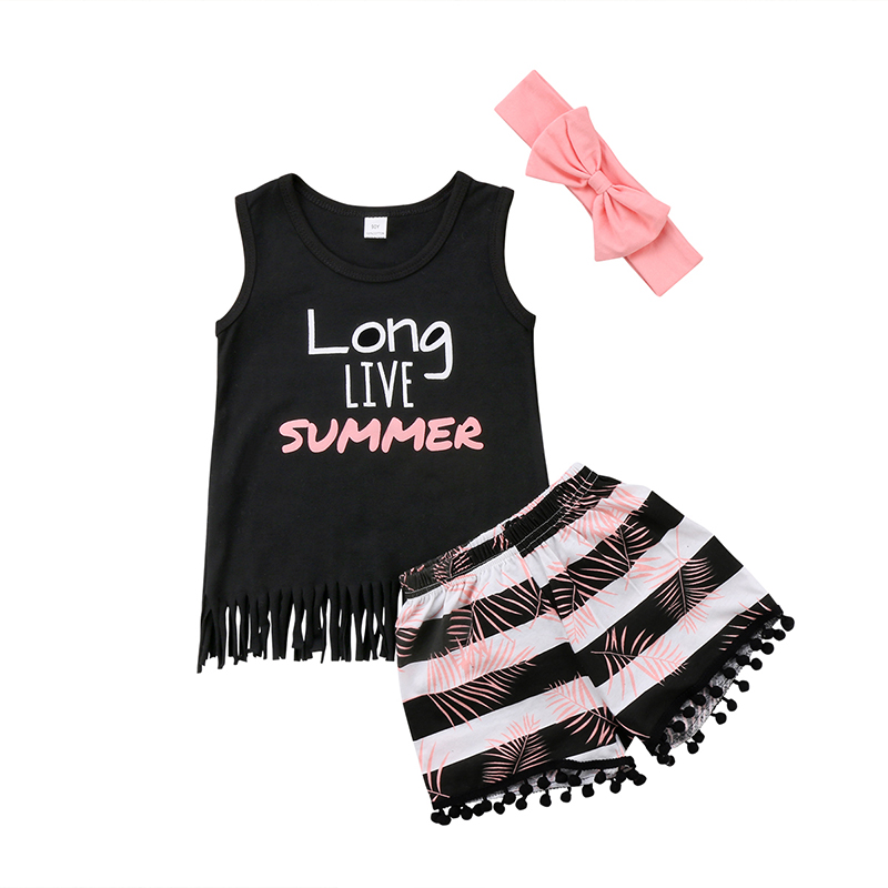 2018 Summer Children Girls Sleeveless Tassel Vest T-shirt Tops Printed Shorts Hot Pant Headband 3PCS Outfit Kids Clothing Set
