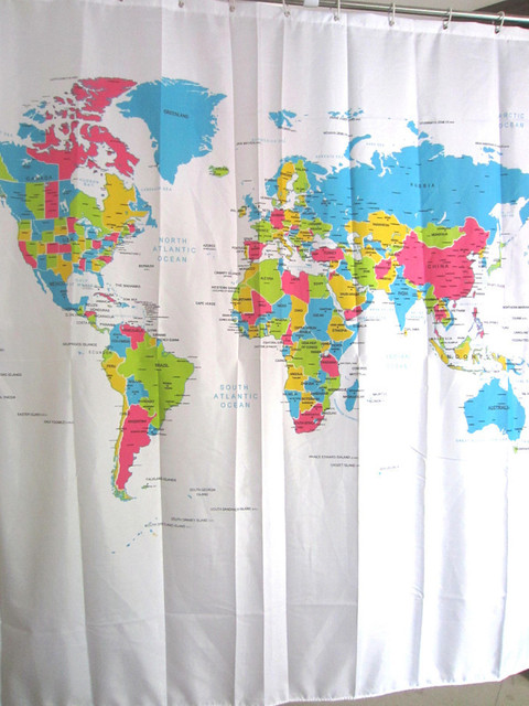 Eco Friendly World Map Shower Curtain Waterproof Products Washable Bath  Room Shower Curtain 1pcs
