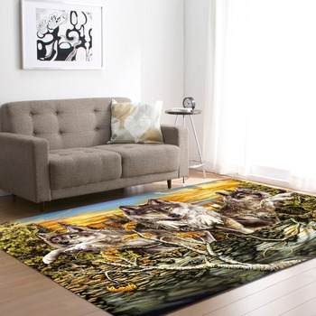 European and American 3D Wild Wolfs Decoration Big Carpets Living Room Area