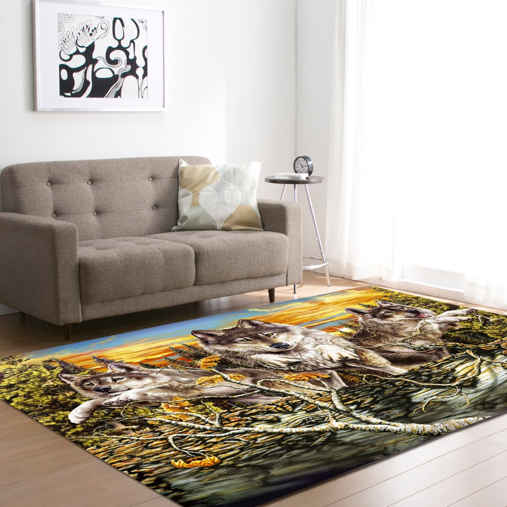 European and American 3D Wild Wolfs Decoration Big Carpets Living Room Area Rug Soft Flannel Boys Room Gift Carpet Mats RugsEuropean and American 3D Wild Wolfs Decoration Big Carpets Living Room Area Rug Soft Flannel Boys Room Gift Carpet Mats Rugs