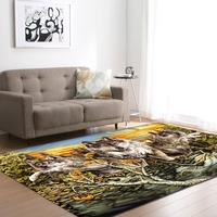European and American 3D Wild Wolfs Decoration Big Carpets Living Room Area Rug Soft Flannel Boys Room Gift Carpet Mats Rugs