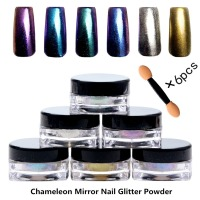 Set Of 6 Boxes Chameleon Mirror Nail Glitter Powder Pigment Mirror For Nail Art Chrome Powder