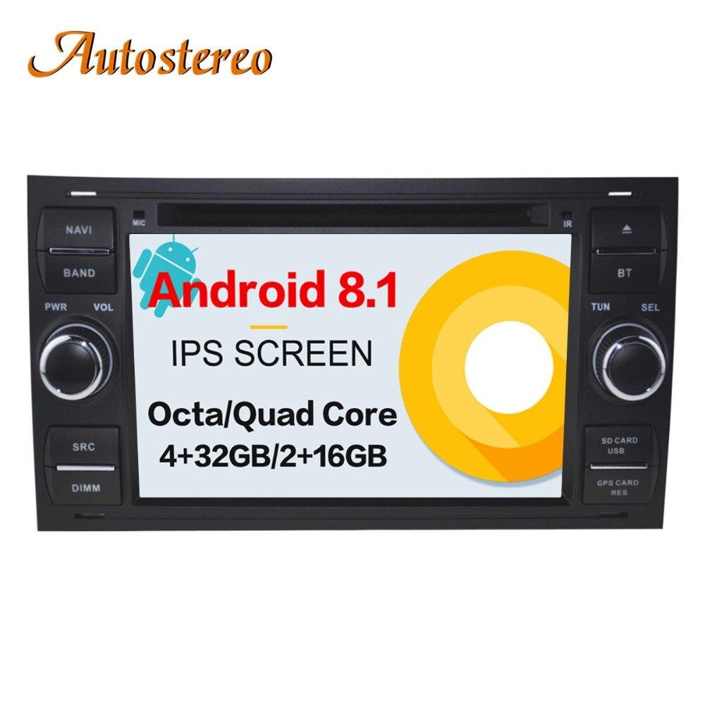 Android 8 Auto CD Lettore DVD 2 din radio Per FORD FOCUS C-MAX FIESTA FUSION GALAXY TRANSIT KUGA GPS per auto multimediale di navigazione Pad