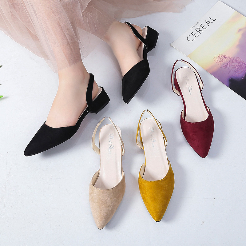 Spring Dress Shoes Women Low Heels Slip On Lady Sandals Flock Candy Color Summer Sandals Women Shoes Pointed Toe Pumps WSH3186 6
