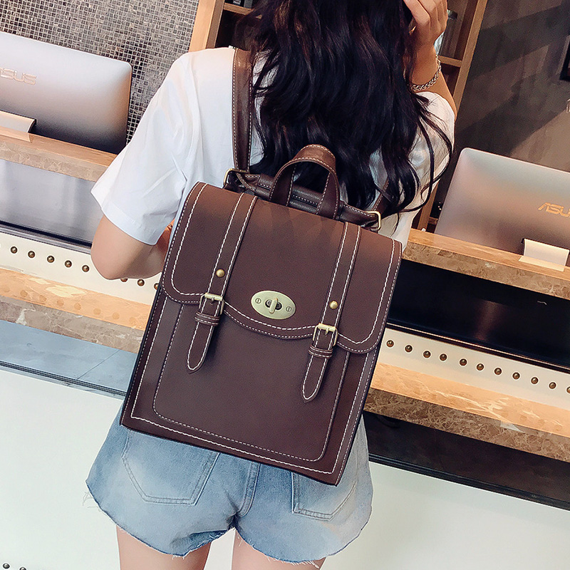 Image 3 - 2019 NEW Fashion Backpack 2pcs Set Women Backpack PU Leather School Bag Women Casual Style A4 Paper Women Backpacks Shoulder Bag-in Backpacks from Luggage & Bags