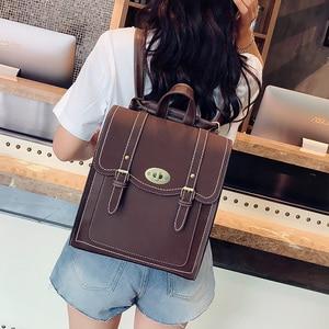 Image 3 - 2019 NEW Fashion Backpack 2pcs Set Women Backpack PU Leather School Bag Women Casual Style A4 Paper Women Backpacks Shoulder Bag