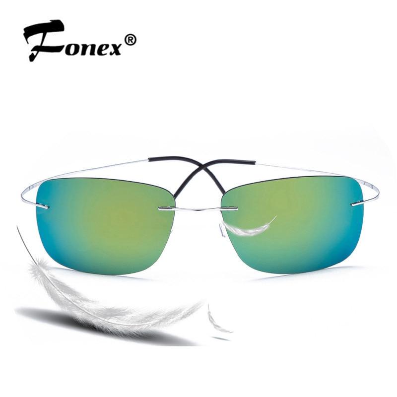 100% Titanium Rimless sunglasses Polaroid super Light Brand Designer Gafas Men Polarized Sun Glasses Eyewear