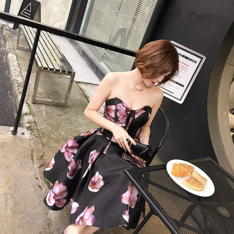 New Arrival Sleeveless Sweetheart Sexy Bridesmaid Dress Taffeta Printed Vestidos Dama Off The Shoulder Dress Bridesmaid 0106E 3