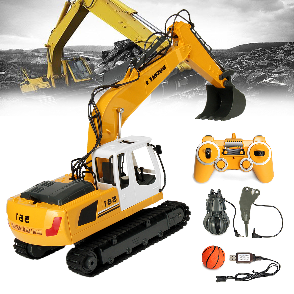 RC Excavator 17 Channel 2.4G Remote Control Construction Truck Crawler Digger Tractor Model Engineering RC Truck Toy rc excavator 15ch 2 4g remote control constructing truck crawler digger model electronic engineering truck toy радиоуправляемые ма