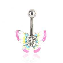 Dangle Belly Button Ring belly bar Body Jewelry Butterfly Navel Piercing For Sexy Women(China)