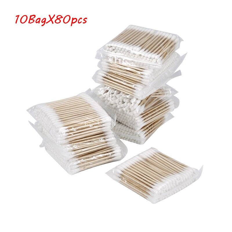 10x 80pcs Disposable Makeup Cotton Swabs Eyelash Extension Mini Individual Applicators Home Mascara Brush Cotton Soft Swab Stick