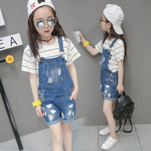 Kids denim overalls 2018 summer girls cowboy strap hot shorts children Korean belt pants 3 to 16 years child hole jeans clothes