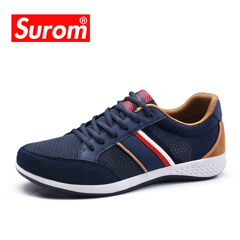 SUROM Men Casual Shoes 2018 Spring New Designer Classic Sneakers Breathable Comfortable Lace up Krasovki For Man Shoes Hot Sale