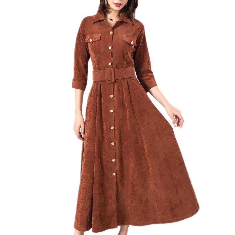 Automne Hiver En Velours Côtelé Robe Femmes Robes Vintage Taille Haute Maxi Longue Robes Élégantes Longue Partie De Douille Chaud Robe Femmes Q924