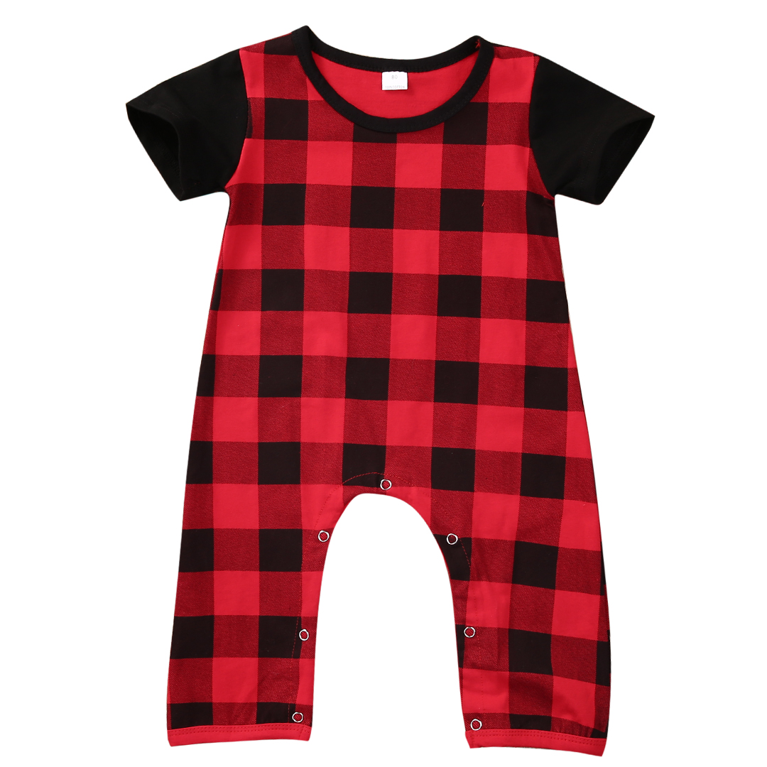 Fashion Newborn Baby Clothes Barboteuse 0-24M Infant Bebes Summer Short Sleeve Red Plaid Baby Rompers Jumpsuit Outfit Sunsuit summer 2017 baby boys clothes cotton jumpsuit short sleeve roupas bebes menino for baby boy body overalls 0 24m baby rompers