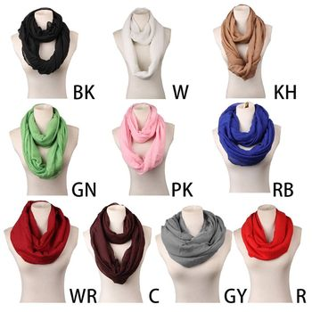 Women Girls Autumn Basic Infinity Loop Ring Scarf Plain Solid Color Loose Oversized Casual Soft Light Weight Circle Neck Warmer