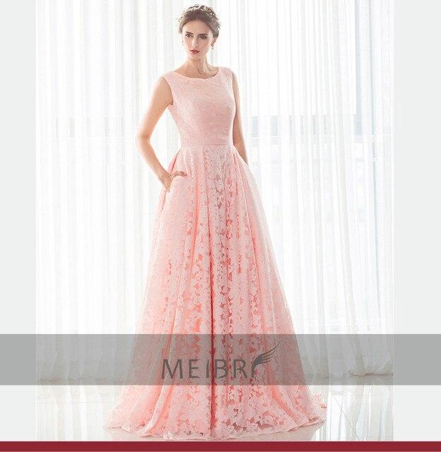 new style vestido de noiva prom sexy a line vestidos pink lace cheap ...