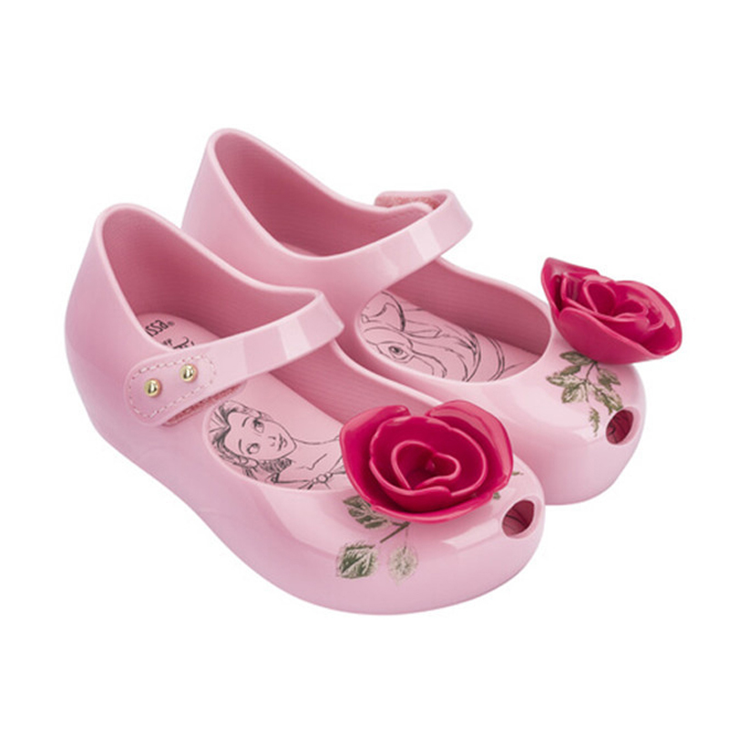 Mini Melissa Girls Shoes Jelly Sandals Girl Princess Sandals Beauty Beast  Rose Flower Teacup Design non 70609107ef17