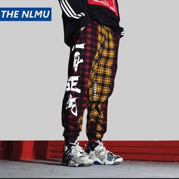 eb9cda51 Модные штаны Харадзюку для бега в клетку, Мужские штаны в стиле хип-хоп,  штаны-шаровары с эластичной резинкой на талии, уличная одежда, мужск.