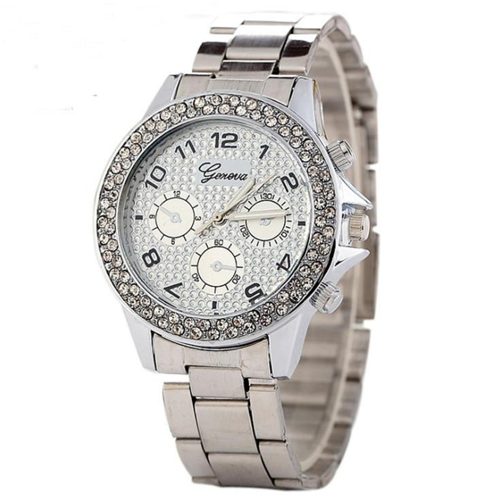 Lady 39 s three eye Drilled Stainless Steel with Business Watch Alloy Round Quartz Watch in Women 39 s Watches from Watches