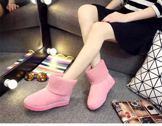 KUYUPP Patchwork Knitting Wool Women Snow Boots Winter Shoes 2016 Flat Heels Warm Plush Ankle Boots Slip On Womens Booties DX119 (73)
