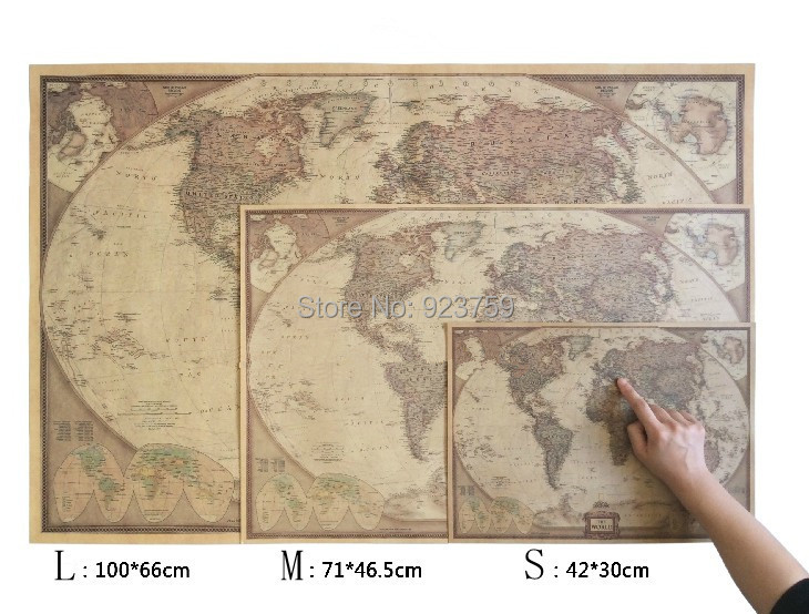 Large Vintage World Map Timekeeperwatches - Retro world map poster