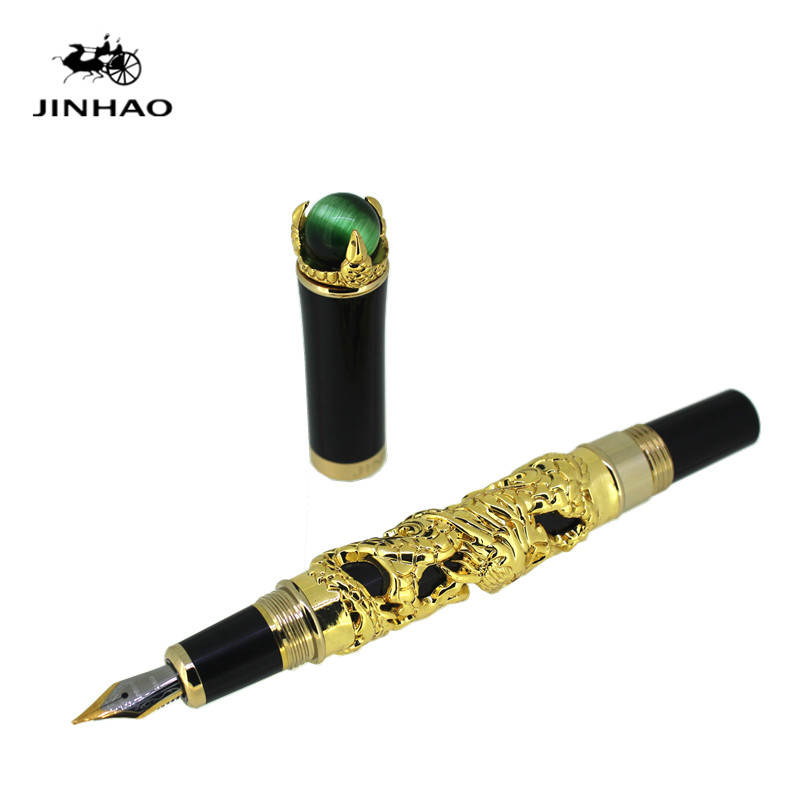 где купить JINHAO pen Luxury Golden Chinese Ming Dynasty Emperor Style Dragon pen Business ink pen Fountain Pen Fine Tip по лучшей цене