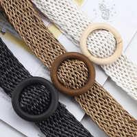 Cinturón de tejido trenzado para mujer, cinturón negro transpirable con hebilla redonda para pantalones y vestido