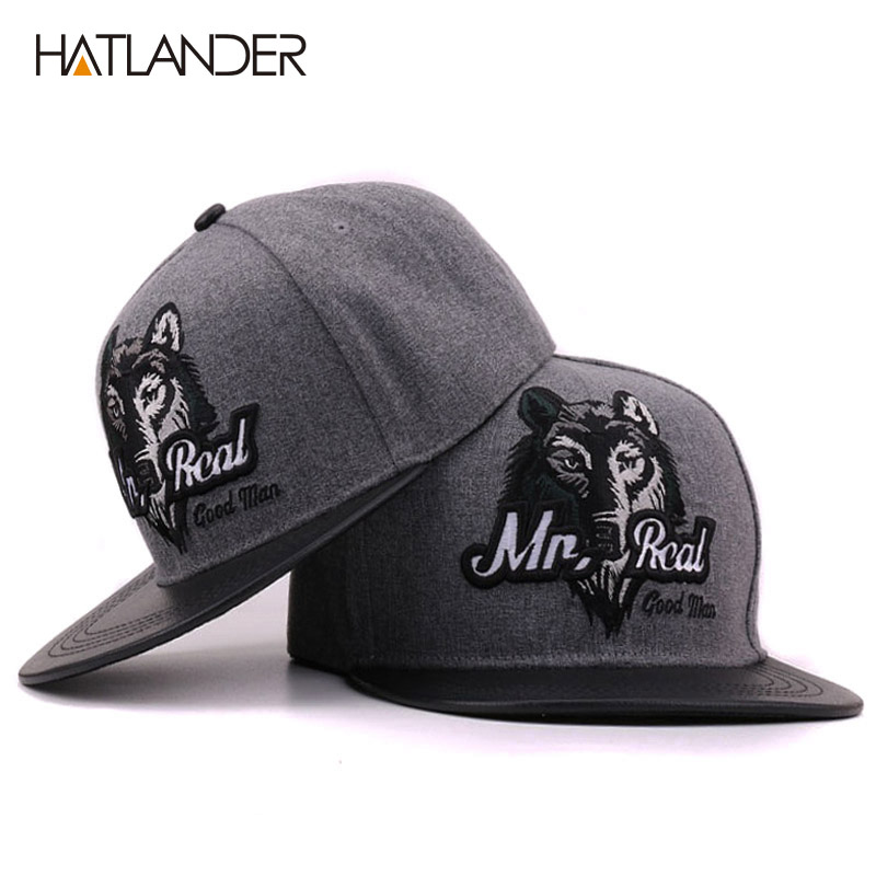 HATLANDER 2017 Grey men hip hop baseball cap fitted flat brimmed hat bone snap back gorras outdoor Embroidery Wolf snapback caps cacuss new metal anchor baseball cap men hat hip hop boys fashion solid flat snapback caps male gorras 2017 adjustable snapback