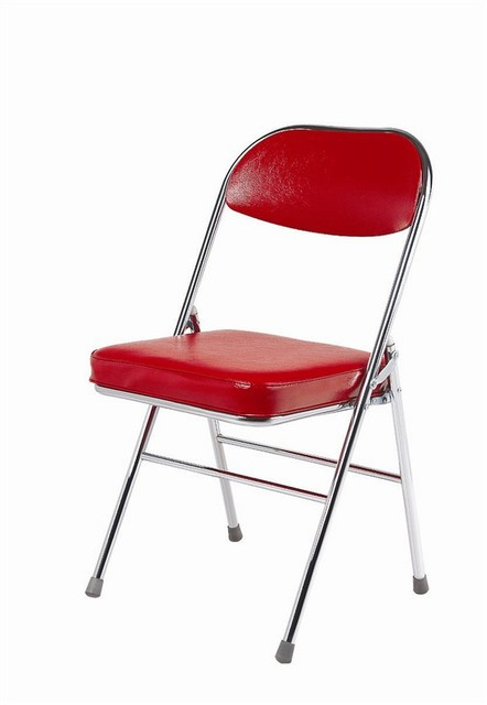 Metal Folding Chair With Cushion, PU Seat And Chromed Steel Frame, Used For  Dining
