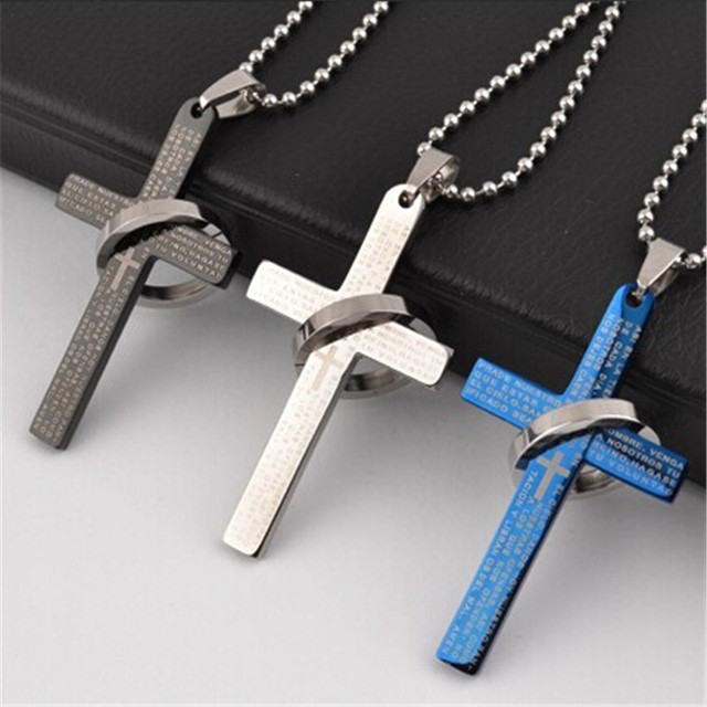 Lemoer brand fashion stainless steel bible cross necklace men prayer lemoer brand fashion stainless steel bible cross necklace men prayer cross necklaces pendants collier jewelry aloadofball Images