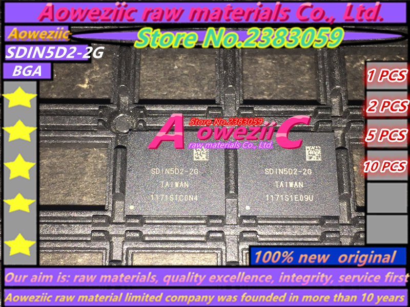 Aoweziic (1 PCS) (2 PCS) (5 PCS) (10 PCS) 100% new original SDIN5D2-2G BGA Mémoire puce SDIN5D2 2G