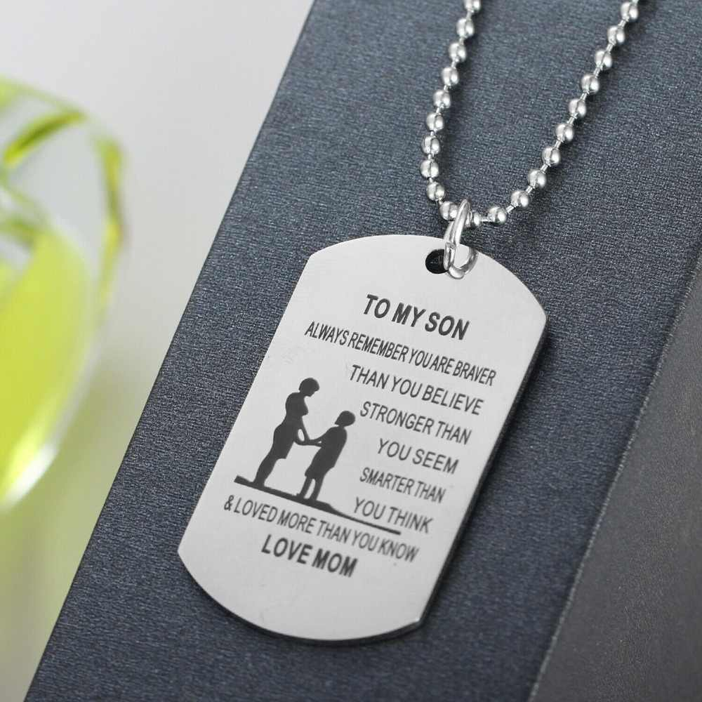 Family Love To My Son Daughter Gift For Mother Father Dad Mom Present Dog Tag Beads Chain Necklace Pendant Stainless Steel
