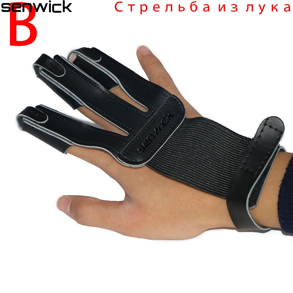 Have An Inquiring Mind Professional Archery Finger Protector Glove Black Leather Finger Tab For Right Hand Bow & Arrow