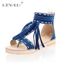 Lsewilly Summer 5 Colors Women Tassel Sandals Blue Purple Ladies Flat Heels T straps Shoes Woman Plus Big Size 33 43 S224