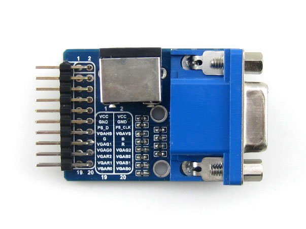 VGA PS2 Board Accessory Test Module with VGA + PS2 + Control Connector Interfaces for Testing VGA PS2 Interface waveshare vga ps2 board accessory transform test module for vga ps2 control connector blue