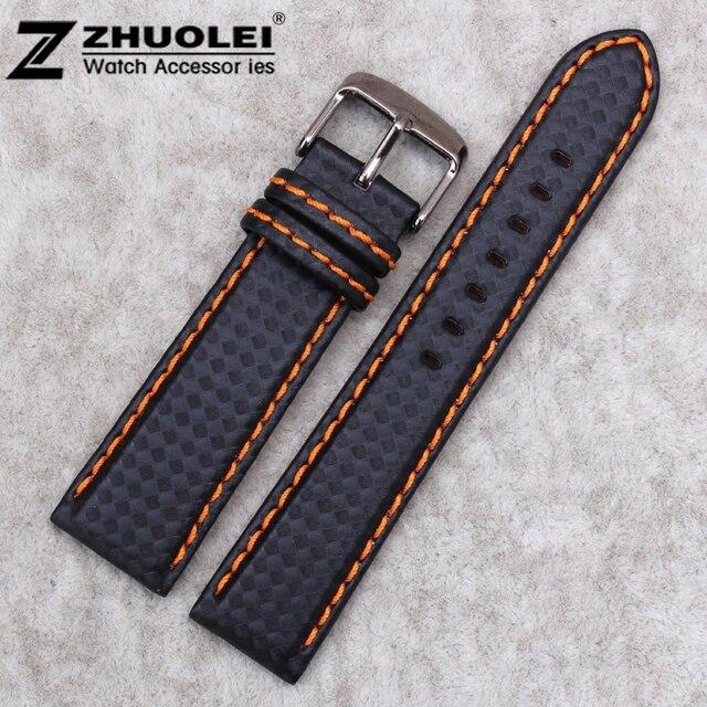 a989ae582c1 18mm 20mm 22mm New Fashion Orange Stitching Waterproof Carbon Fiber Mens Black  Genuine Leather Watch Band Strap