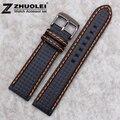 18mm 20mm 22mm de la nueva manera de orange costura impermeable de fibra de carbono para hombre negro de cuero genuino reloj de correa de la banda