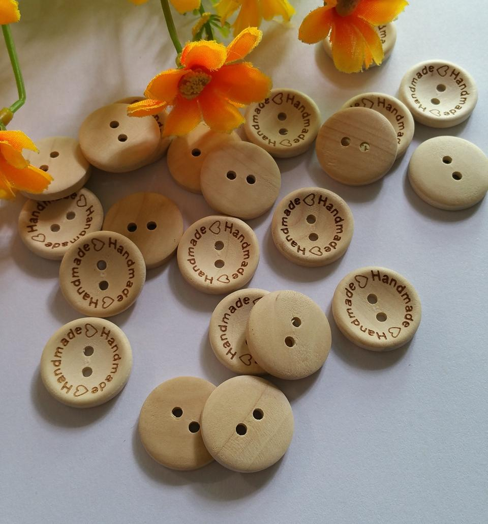 (120pcs /lot) 20mm made with love unfinished natural wooden button Scrapbooking supplies sewing decoration buttons