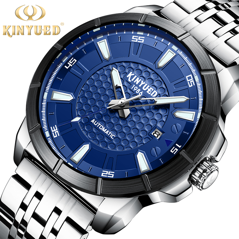 все цены на KINYUED Business Mens Watches Top Brand Luxury Automatic Mechanical Watch Men Dress Steel Waterproof Sport Relogio Masculino
