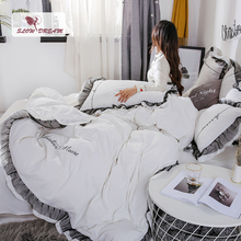 SlowDream Bed Linen Cotton Set White Girl Gift Luxury Bedding Flat Sheet Double Full Queen Duvet Cover Lace Decor