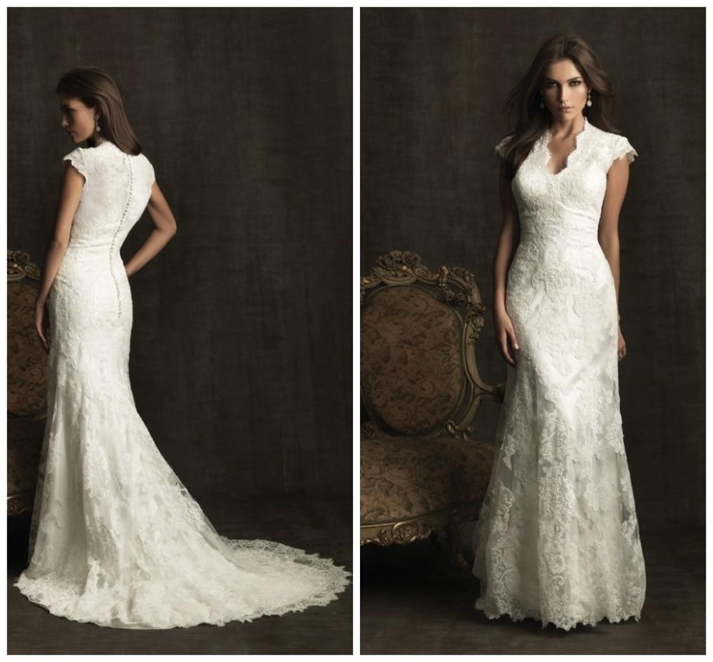 Modest wedding dress short sleeve lace bridal gown v neck for Modest elegant wedding dresses